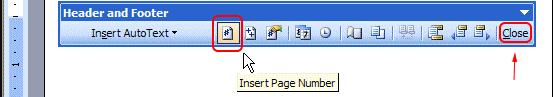 Número de página de inserción de encabezado y pie de página de Microsoft Word 2003