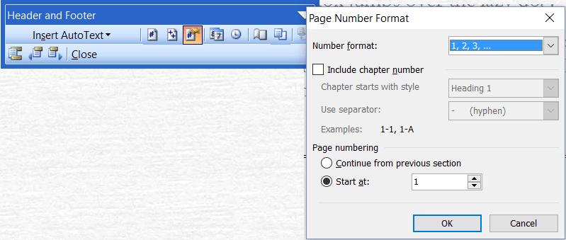Formato de número de página de Microsoft Word 2003