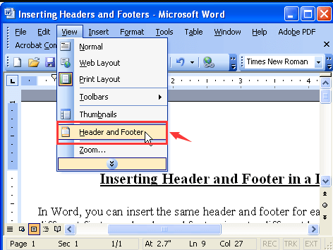 Microsoft Word 2003 View Header and Footer