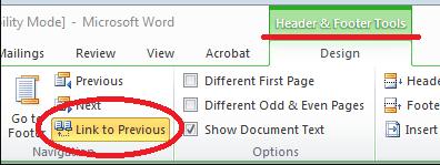 Enlace de Microsoft Word 2010 a la anterior
