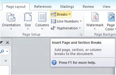 Saltos de diseño de página de Microsoft Word 2010