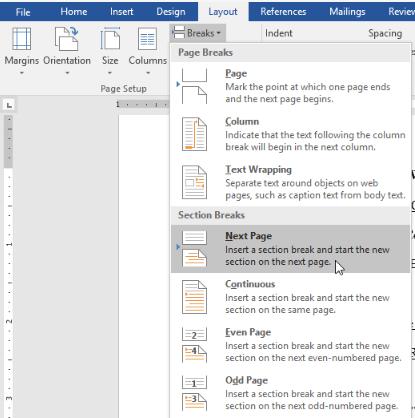 El diseño de Microsoft Word 2007 se rompe en la página siguiente