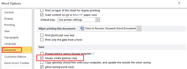 Microsoft Word Always Create Backup Copy
