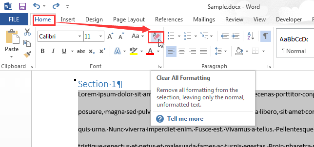 Microsoft Word Clear All Formatting