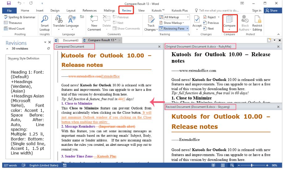 Microsoft Word Compare Documents