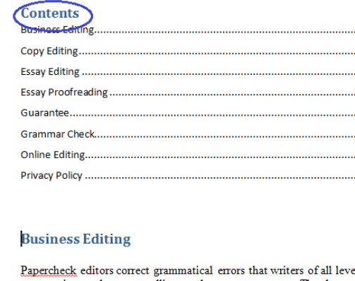 Microsoft Word Contents