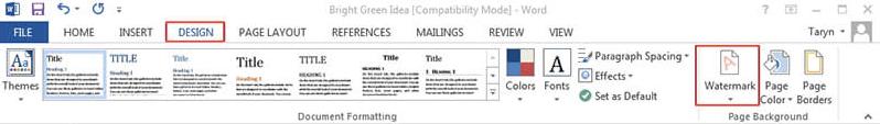 Microsoft Word Design Wasserzeichen