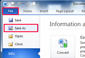 Microsoft Word File Save As