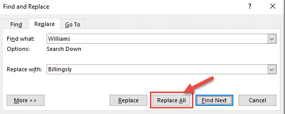 Microsoft Word Find and Replace Replace All