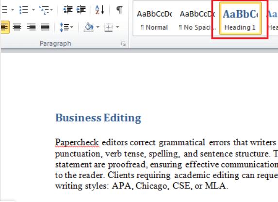 Encabezado de inicio de Microsoft Word