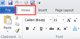 Microsoft Word Home