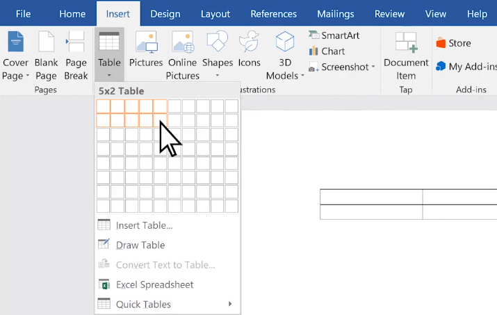 Microsoft Word Insert a Table