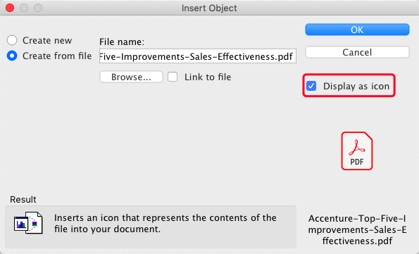 Microsoft Word Insert PDF Display As Icon