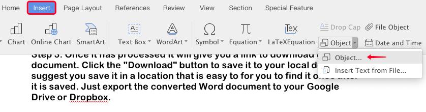 Oggetto Inserisci di Microsoft Word