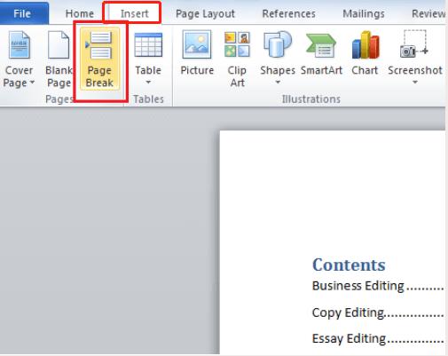 Salto de página de inserción de Microsoft Word