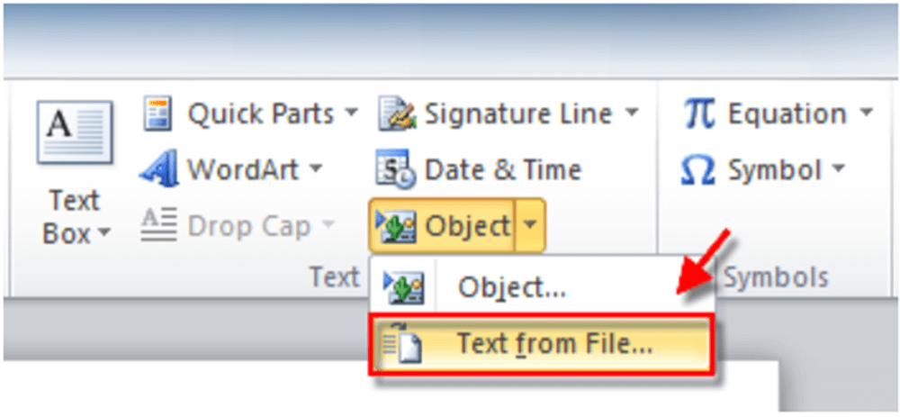 Microsoft Word Object Text from File