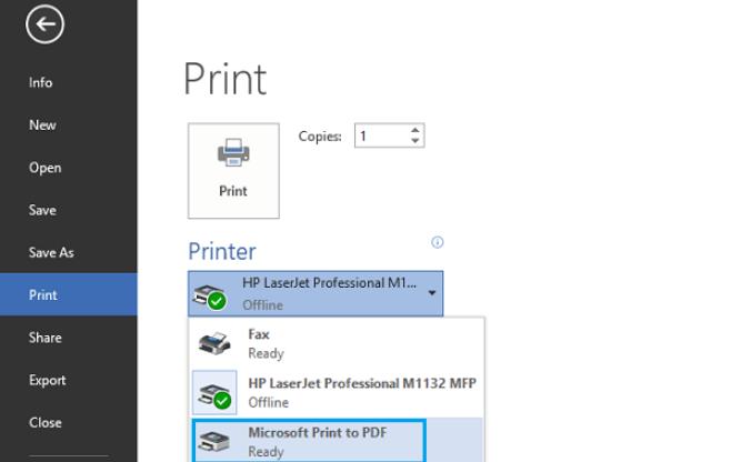 Microsoft Word Print