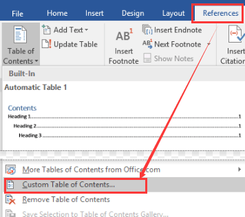 Tabla de contenido personalizada de referencias de Microsoft Word