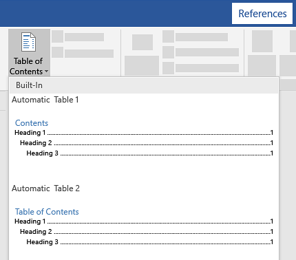 Microsoft Word References Table of Contents