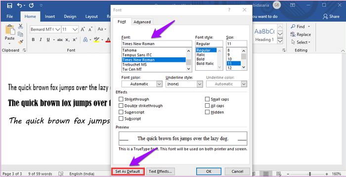 Microsoft Word establece la fuente predeterminada