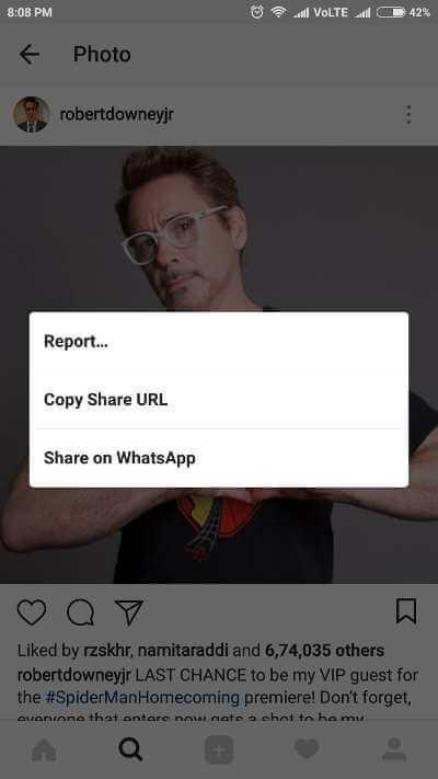 Copia mobile collegamento foto Instagram