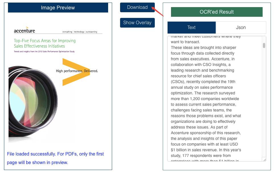 OCR 공간 결과 다운로드