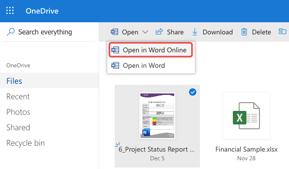OneDrive Apri in Word Online