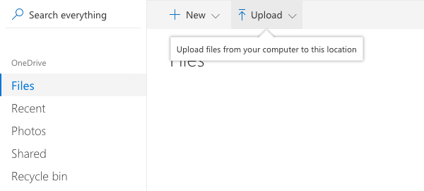 OneDrive Upload Files