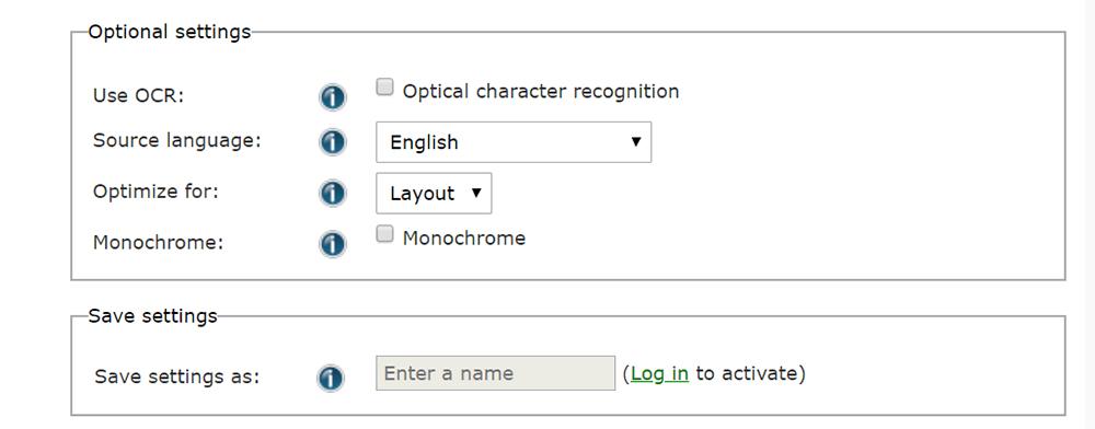 Online-Konvertierung der Dateieinstellung