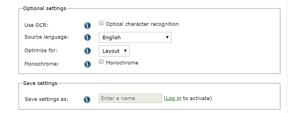 Online Convert File Setting