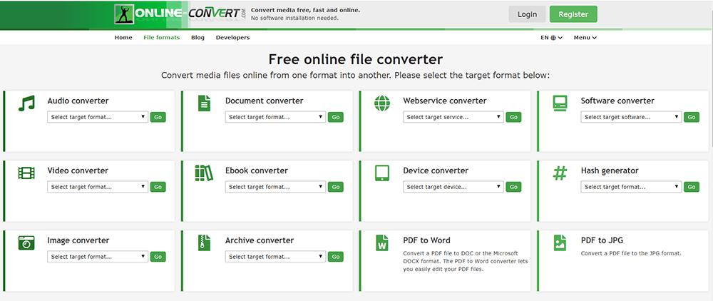 Online Convert Homepage