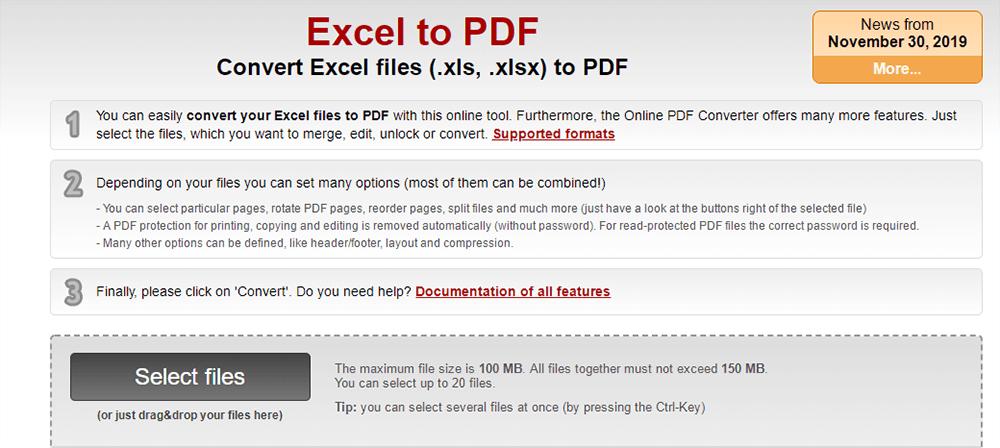 Online2PDF Excel a PDF