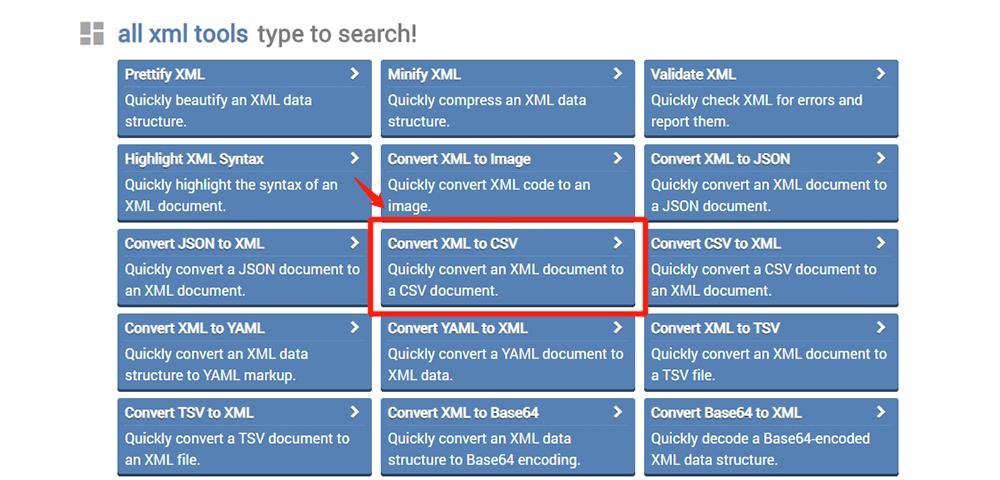 onlinexmltools Convert XML to CSV