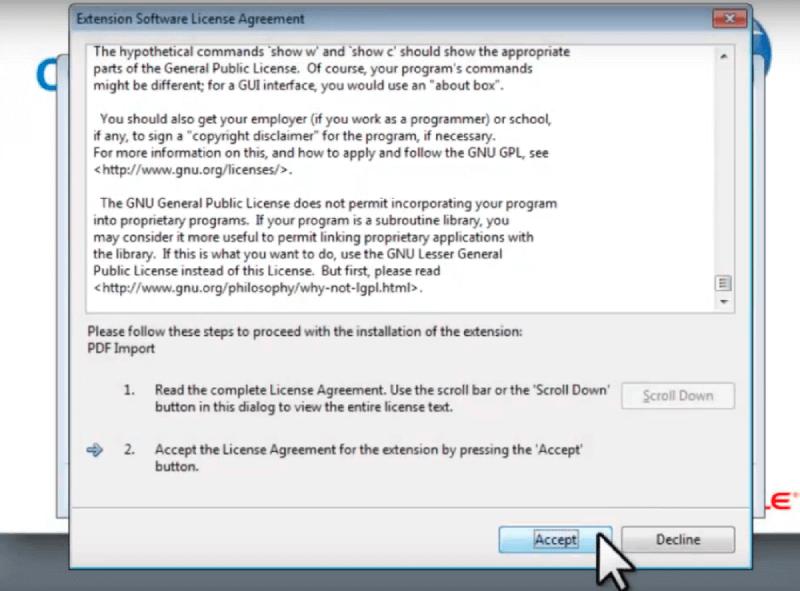 Acuerdo de licencia del software de extensión de Open Office