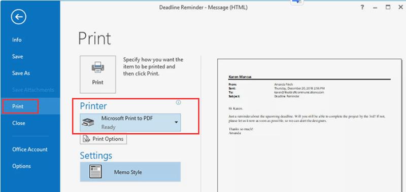 Outlook 인쇄 Microsoft Print to PDF