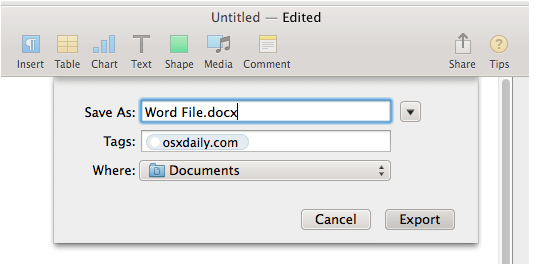 Pages Save Word Document