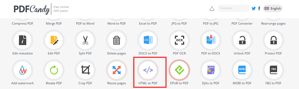 PDF Candy Homepage HTML to PDF