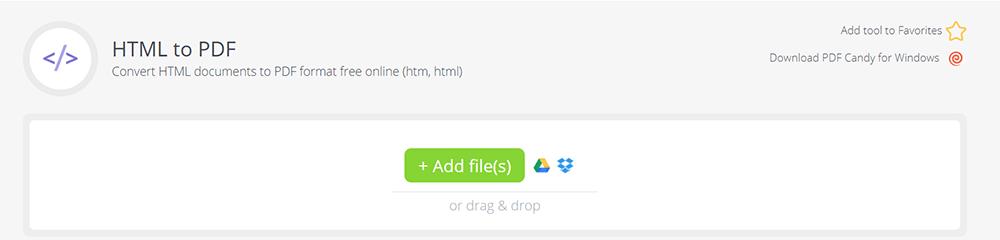 PDF Candy HTML zu PDF Dateien hinzufügen