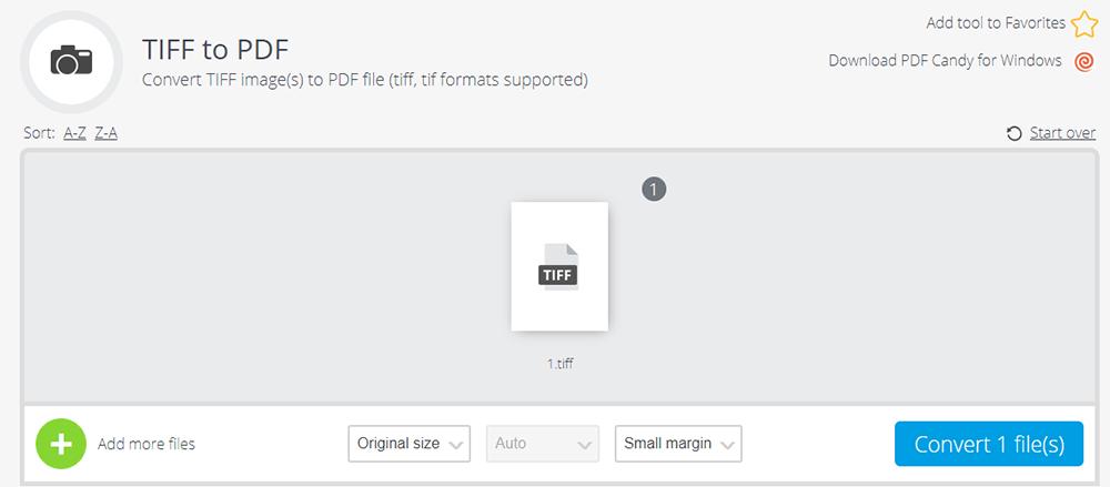 PDF Candy TIFF를 PDF로 크기 및 여백 조정