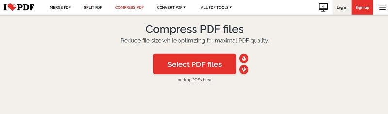 PDF Compressor on iLovePDF