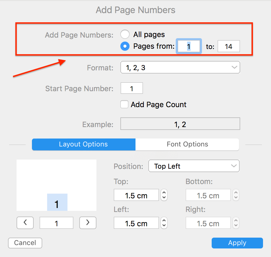 PDF Expert Add Page Numbers Setting