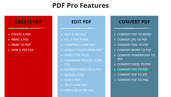 PDF Pro Features CONVERT TIFF TO PDF