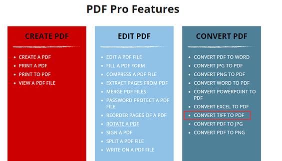 PDF Pro 기능 TIFF를 PDF로 변환