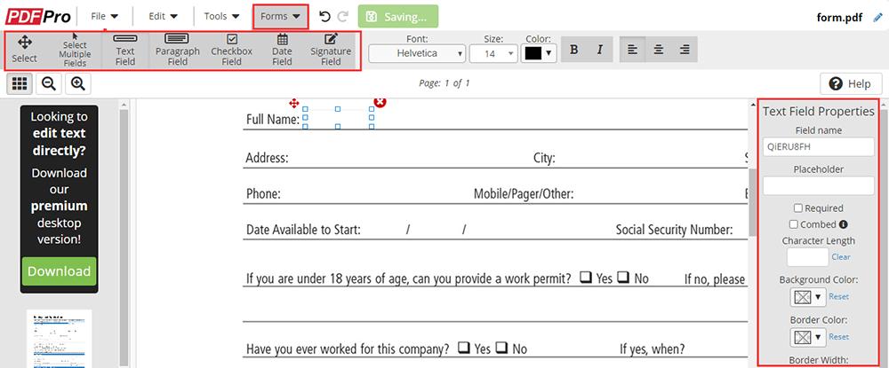 PDF Pro Fill out PDF