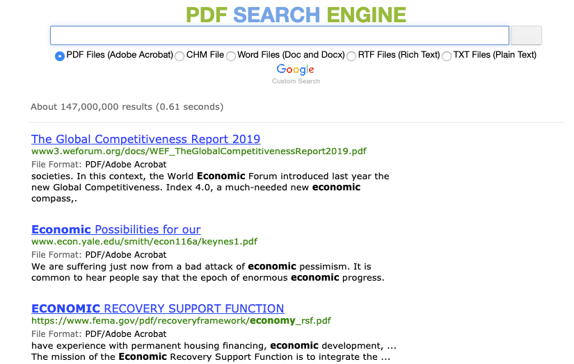 PDF Search Engine Result
