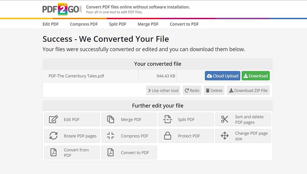 Konvertierte PDF2GO-Einstellungen