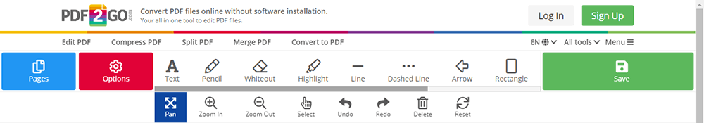 PDF2GO Editar herramientas PDF