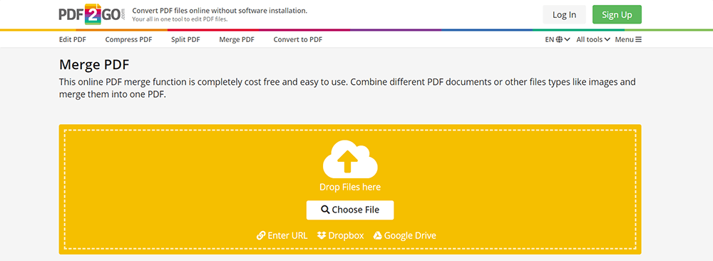 PDF2GO MergePDF Upload