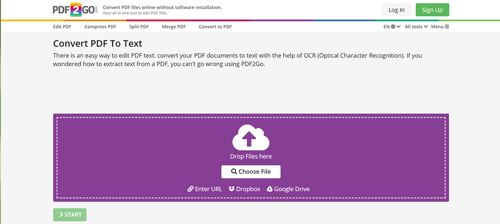 PDF2Go PDF to Text Upload Files