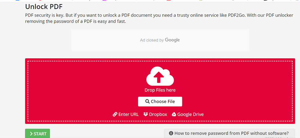 PDF2GO Desbloquear PDF Elegir archivos